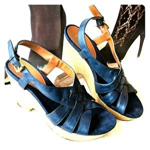 """Chaps navy leather 4"""" wedge sandals like new."""